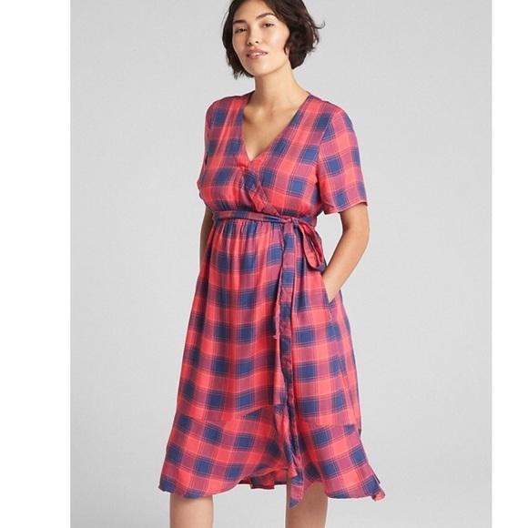 a5ef4f1f GAP Dresses | Maternity Plaid Midi Wrap Dress | Poshmark